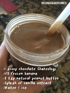 Recipe for chocolate frosty: 1 scoop chocolate Shakeology, 1/2 frozen banana, 2 tsp natural peanut butter, splash of vanilla extract, water & ice. Blend all together and use a thick straw to suck up the yumminess!